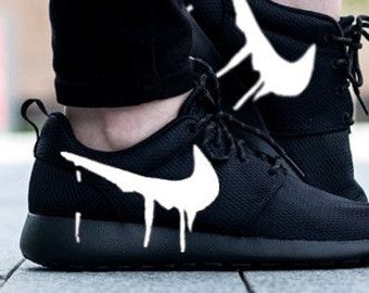 f23d6784adf0 Customized Nike Roshe One Runs with Custom Black Candy Drip Swoosh Paint  The base shoe used is the Nike Roshe Run One White Design is painted with  special ...