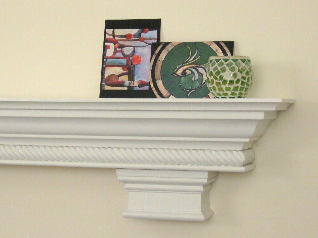 CUSTOM SHELF - Fireplace Mantel - Corbels Rope Molding CROWN Painted ...
