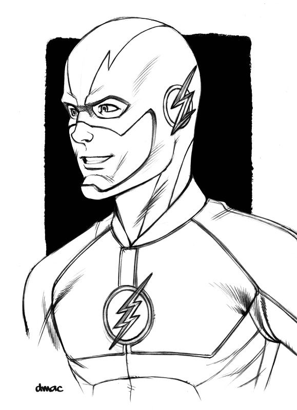 Dmac S Art Blog A Little Pencil Sketch Of Grant Gustin As The Superhero Coloring Superhero Coloring Pages Flash Drawing