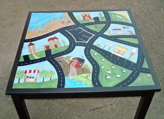 Image result for childrens hand oainted activity table