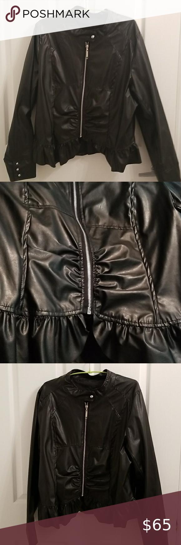 Black Ruffle Leather Jacket Leather Jacket Black Ruffle Coats Jackets Women [ 1740 x 580 Pixel ]
