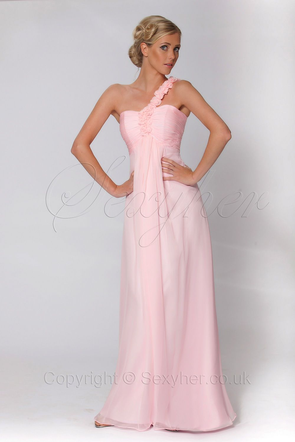 one shoulder baby pink bridesmaid dress with flowers