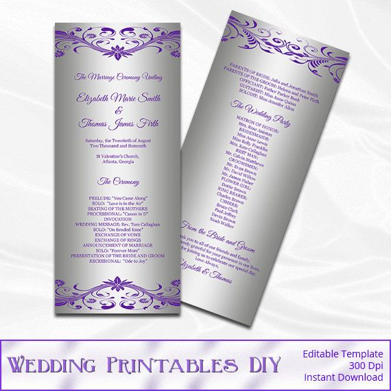 Purple Silver Wedding Program Template By Weddingprintablesdiy