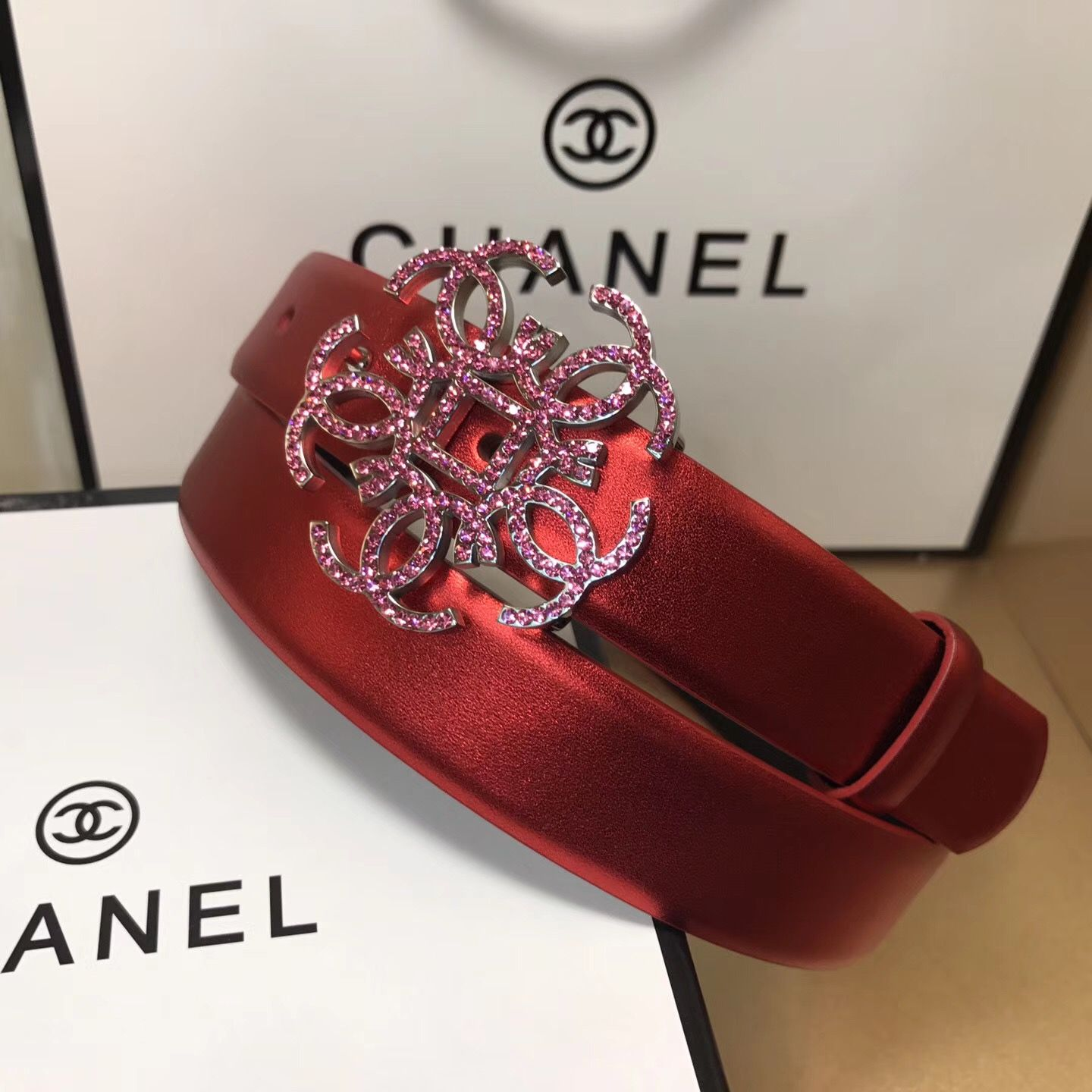 Chanel woman leather belt