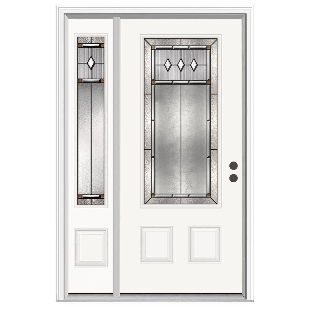 Jeld Wen 50 In X 80 In 3 4 Lite Mission Prairie Primed Steel Prehung Left Hand Inswing Front Door With Left Hand Sidelite H31132 Interior Railings Steel Doors Brown Front Doors