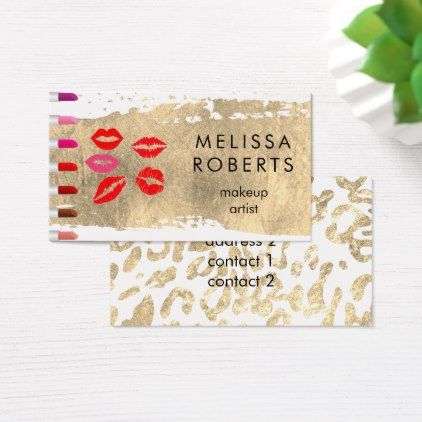 #makeupartist #businesscards - #lipsticks on gold makeup artist business card