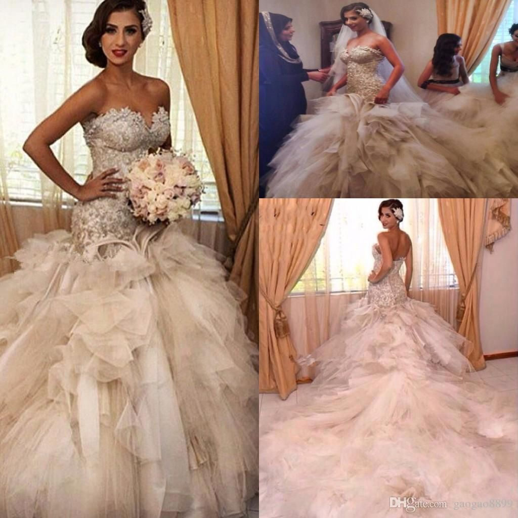 Champagne 2017 ruffles cathedral train mermaid princess wedding champagne 2017 ruffles cathedral train mermaid princess wedding dresses ombrellifo Choice Image