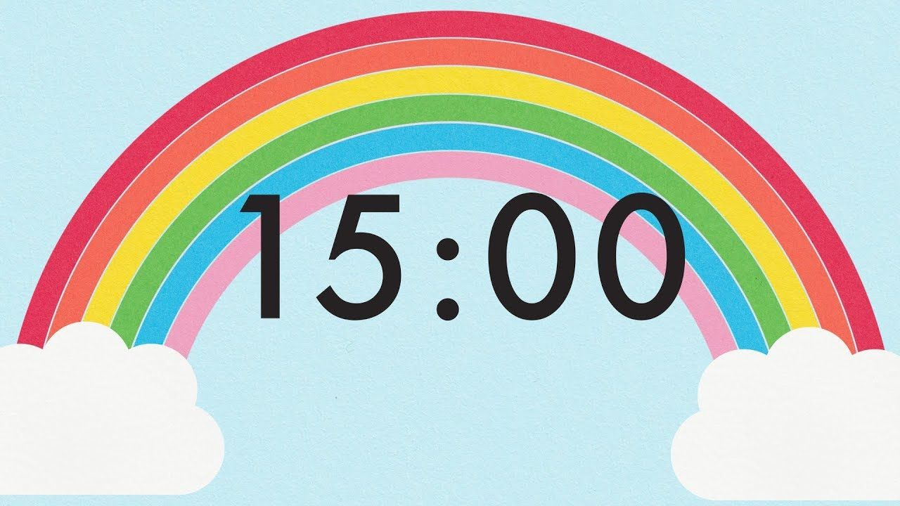 15 Minute Countdown Rainbow Timer Countdown For Kids Classroom Timer Countdown Timer