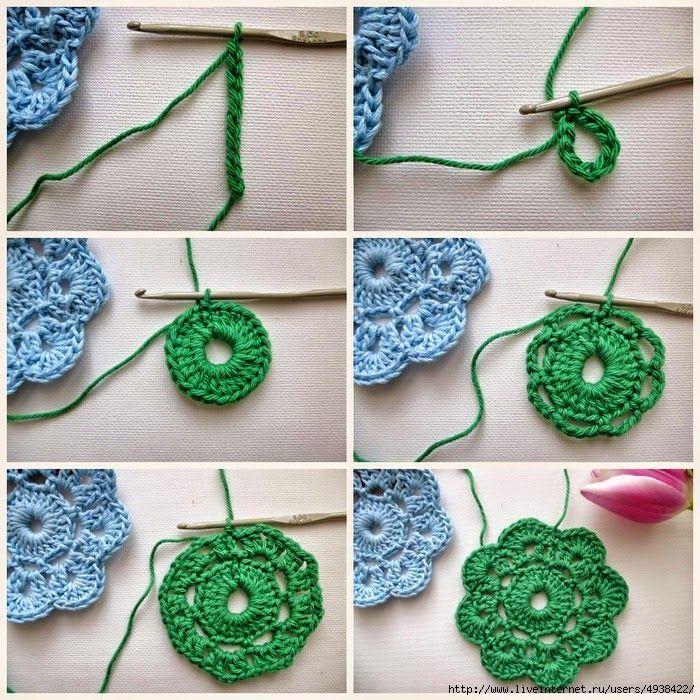 Crochet y dos agujas grannys paso a paso para - Hacer punto con dos agujas para principiantes ...
