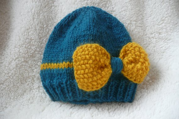 Teal Blue Peacock and Mustard Yellow Bow Knit Hat - Baby Knit Hat- Toddler  Knit Hat- Hat with Bow- K 38c5496a351