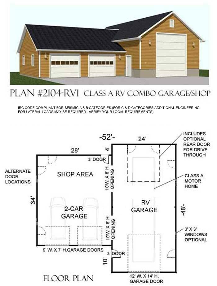 One Story Shop Garage Plan D No 2104 Rv1 52 X 48 Shop Building Plans Garage Plans Free Garage Workshop Plans