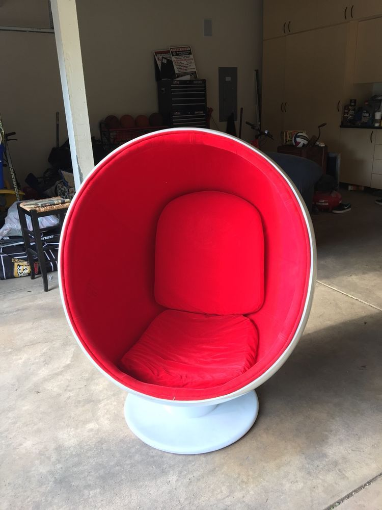 Adult Egg Chair And A Half Slip Cover Sized With Red Interior White Exterior Ebay