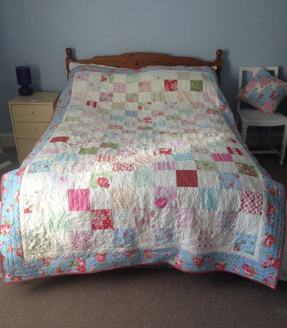 Patchwork Quilt, handmade country chic, bed throw, comforter ... : patchwork comforters throws and quilts - Adamdwight.com
