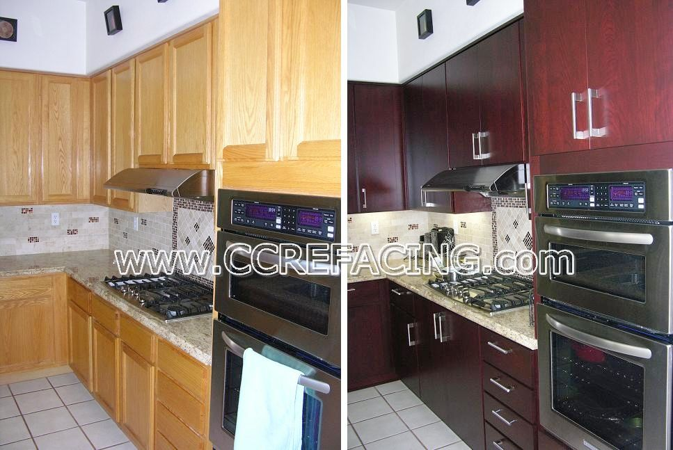 Project Location Fremont Ca Details Reface Cabinets With Door Style Contempo Wood Species Cherry And Finish Color Scarlet Www Ccrefacing