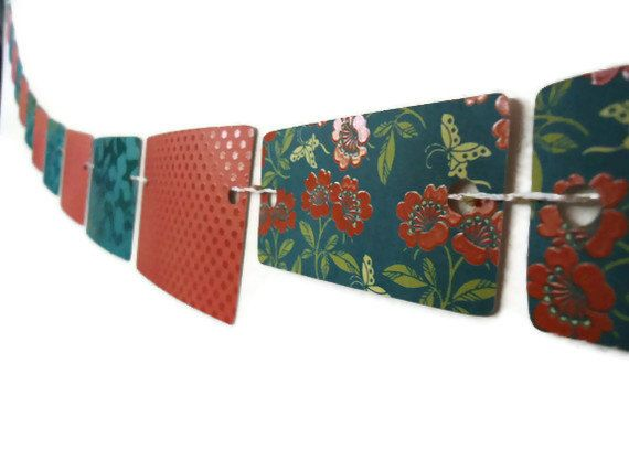 Rectangle Paper Banner Floral Wall Hanging Orange by ThePaperLake, $10.00