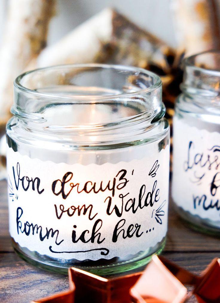 DIY Teelichtgläser | Teelichthalter, Transparentpapier & Kalligrafie.