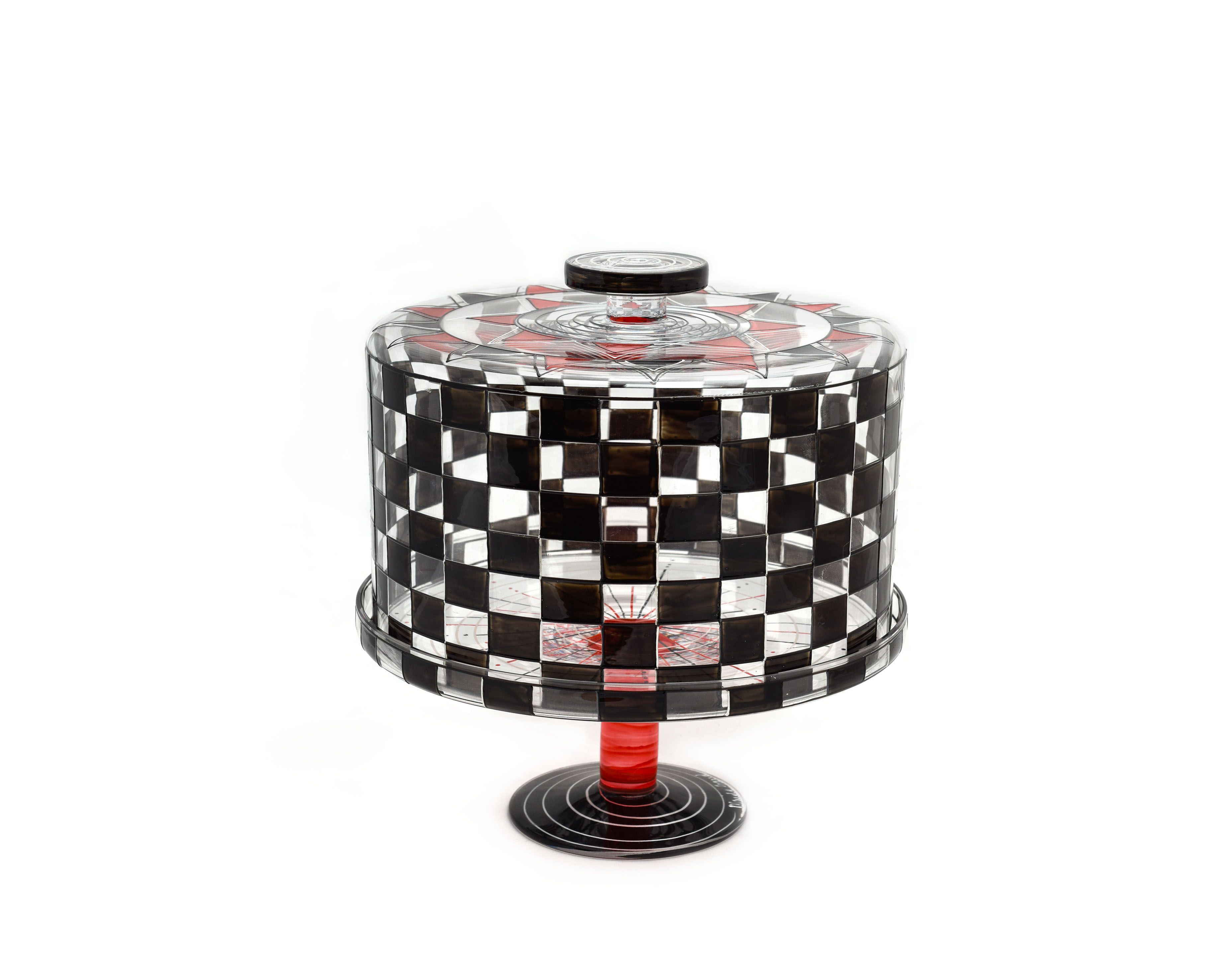 Cake stand and dome black checkered design with images