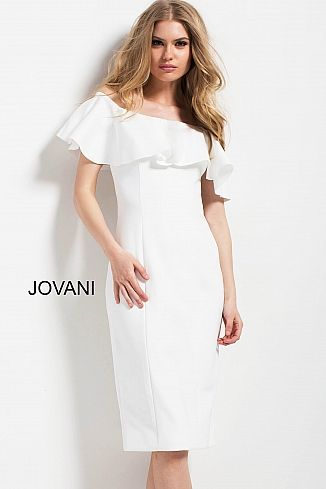 2cc60efdd9b White Off the Shoulder Fitted Knee Length Dress 49679