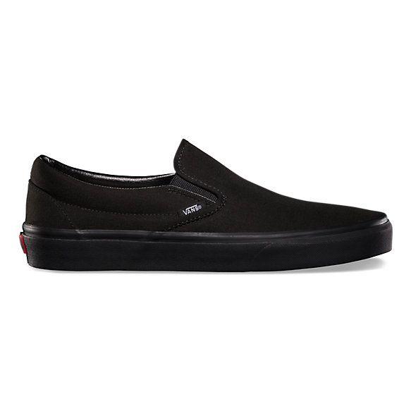 solid black slip on vans