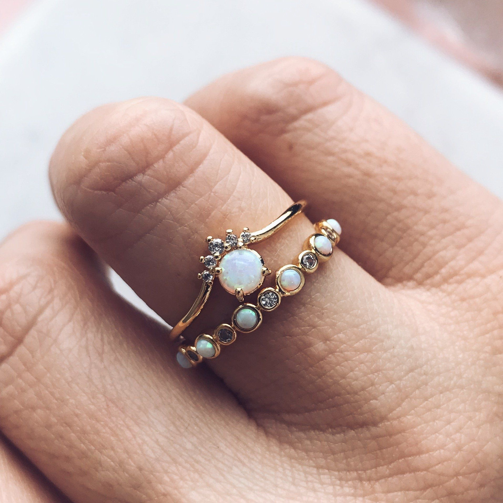 Tai Jewelry Ta Dainty Gold Ring With Opal And Cubic Zirconia Gold 7 FUCfqN