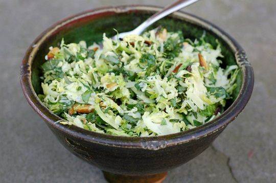 Vegetarian ideas: 35 meatless dishes - Brussels sprouts & kale salad with toasted almonds & parmesan - CSMonitor.com
