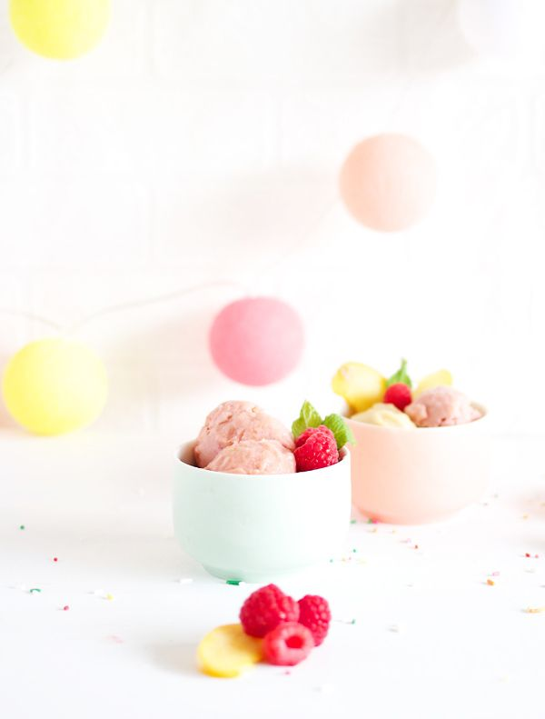 Raspberry & Peach Ice Cream