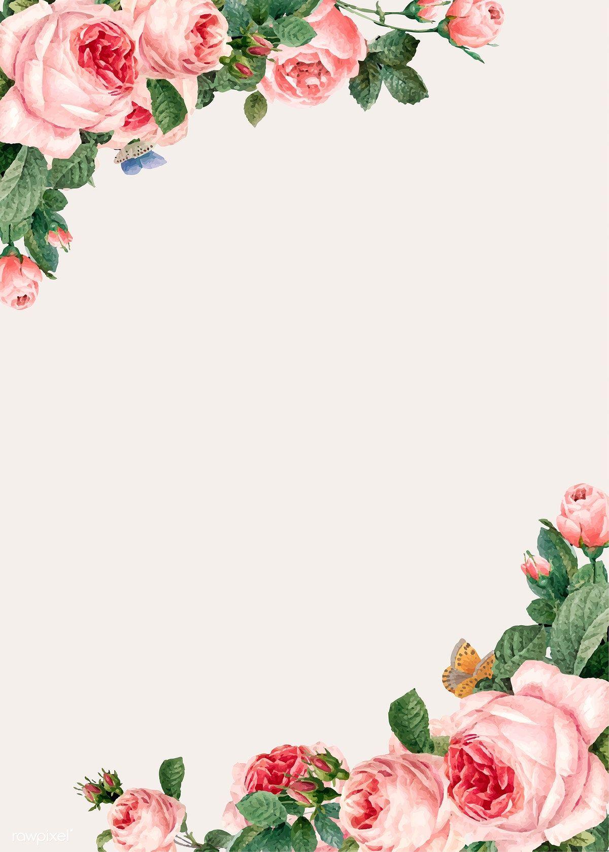 Download Premium Vector Of Hand Drawn Pink Roses Frame On Beige Background Floral Vector Free Rose Frame Flower Frame