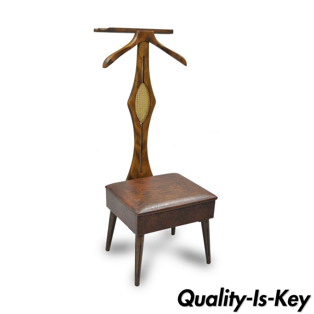 Vintage Nova Mid Century Modern Wood Clothing Valet Flip Seat Chair Danish Style Mid Century Modern Wood Danish Style Wood Clothes