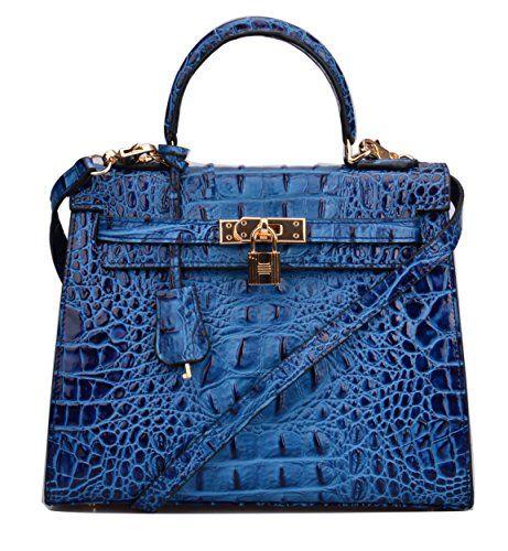 83cb2550f5155b Ainifeel Women's Padlock Crocodile Embossed Genuine Leather Shoulder Bag  Hobo Bag Business Purse (28cm,