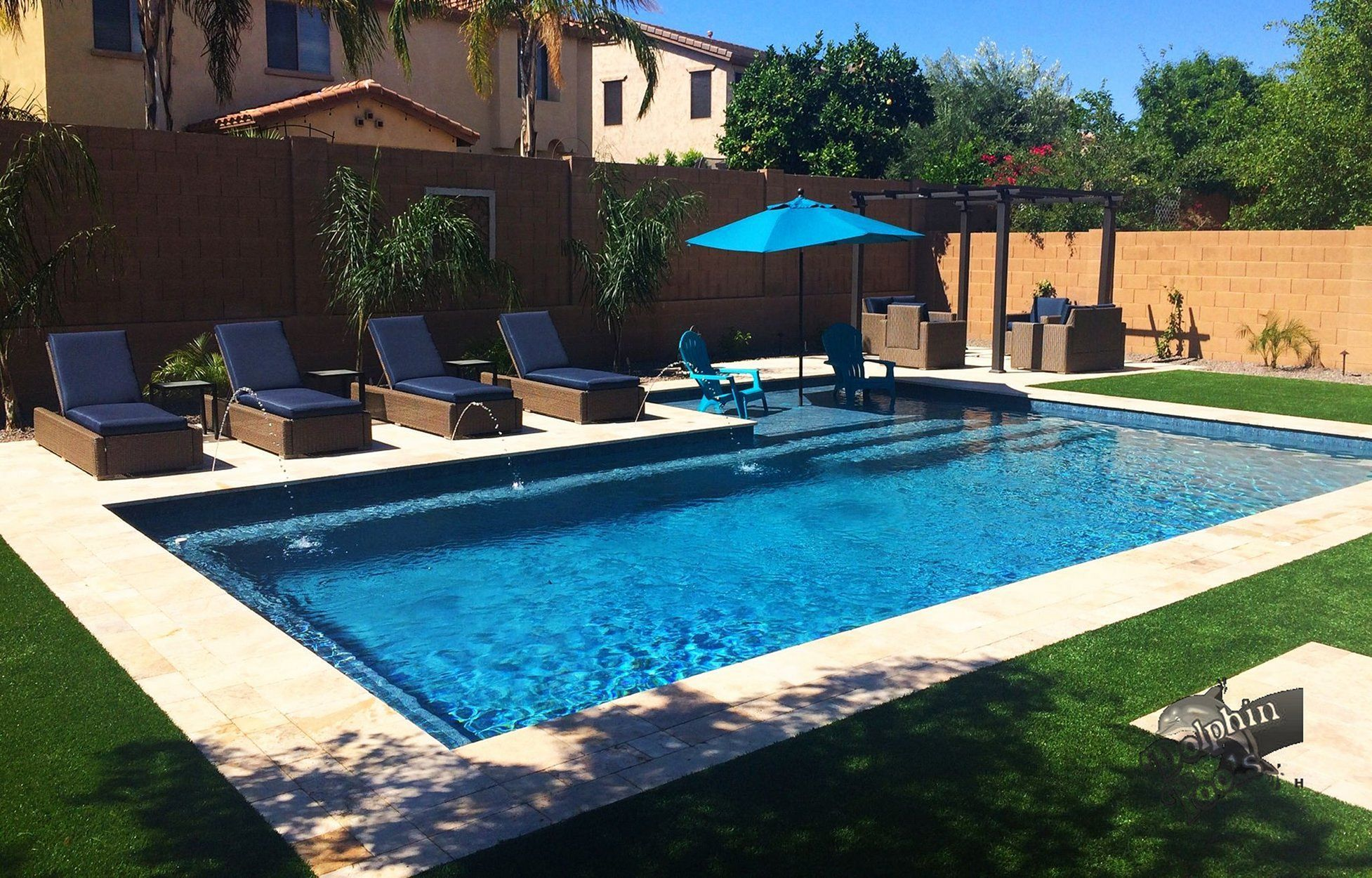 25 Stunning Rectangle Inground Pool Design Ideas With Sun Shelf In 2020 Inground Pool Designs Backyard Pool Landscaping Small Swimming Pools