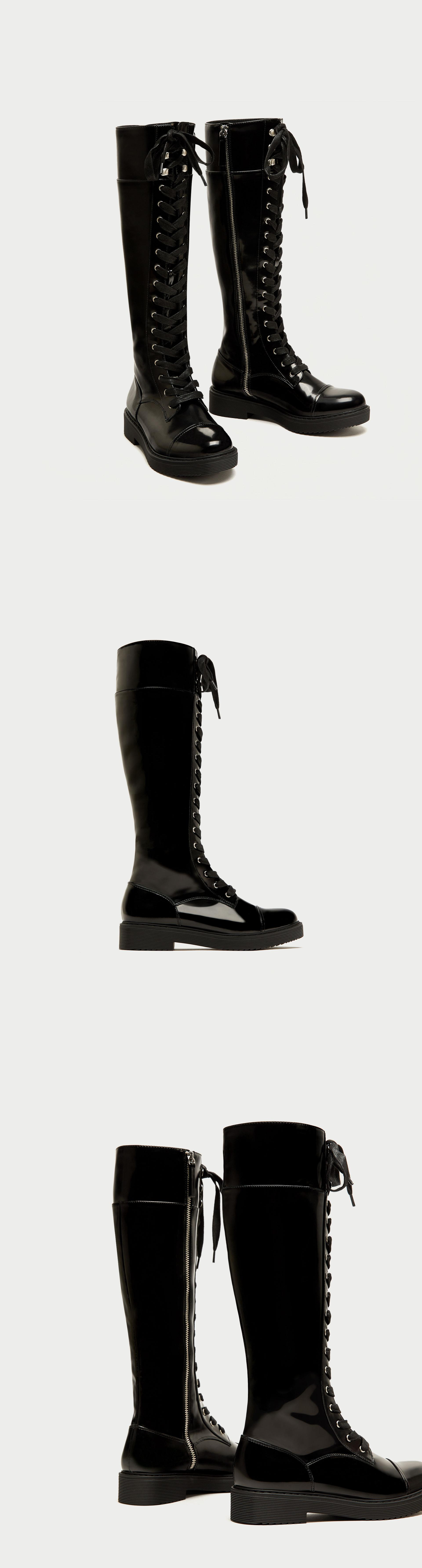 Lace Up Flat Over The Knee Boots 89 90 Usd Zara Flat Tall Military Boots In Black With Lace Up Fastening Over The Knee Boots Boots Zara Fashion 2017