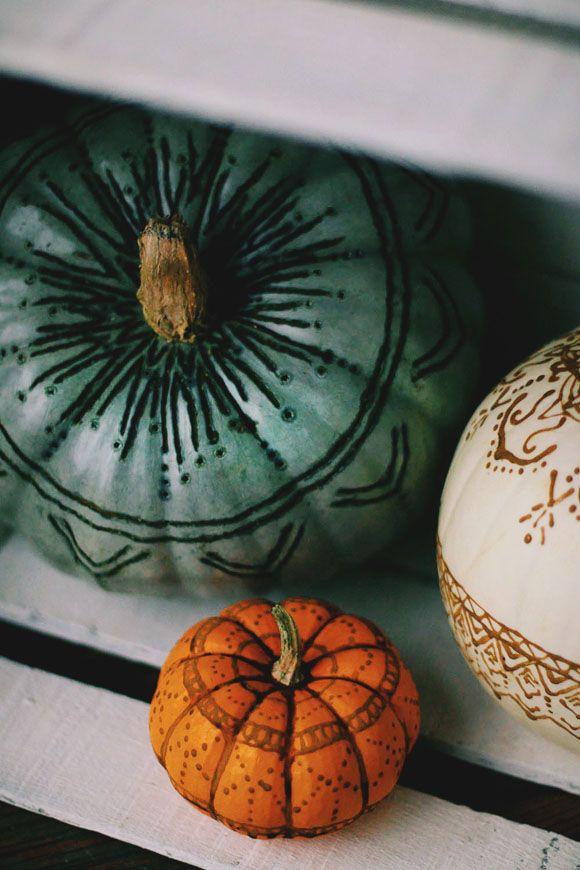 4c3bc17cb69 Henna   Wood Burned Pumpkins   FP Lifestyle   Pinterest   Halloween ...