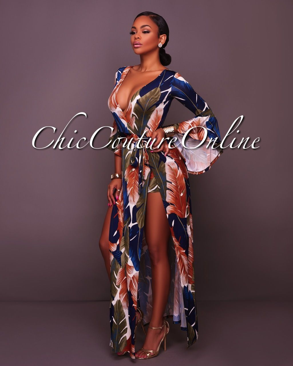 b540abfa47f Chic Couture Online - Havana Navy-Blue Green Yellow Slit Romper Maxi Dress