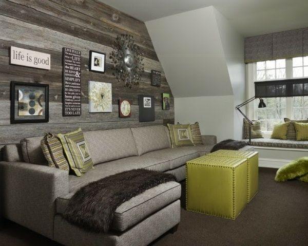 wohnzimmer dachschräge rustikale holz verkleidung fotowand, Wohnzimmer dekoo