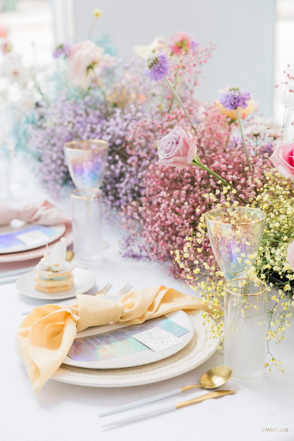 Rainbow Bliss - WedLuxe Magazine  #tablesetting #holographic #rainbow #reception #weddinginspo
