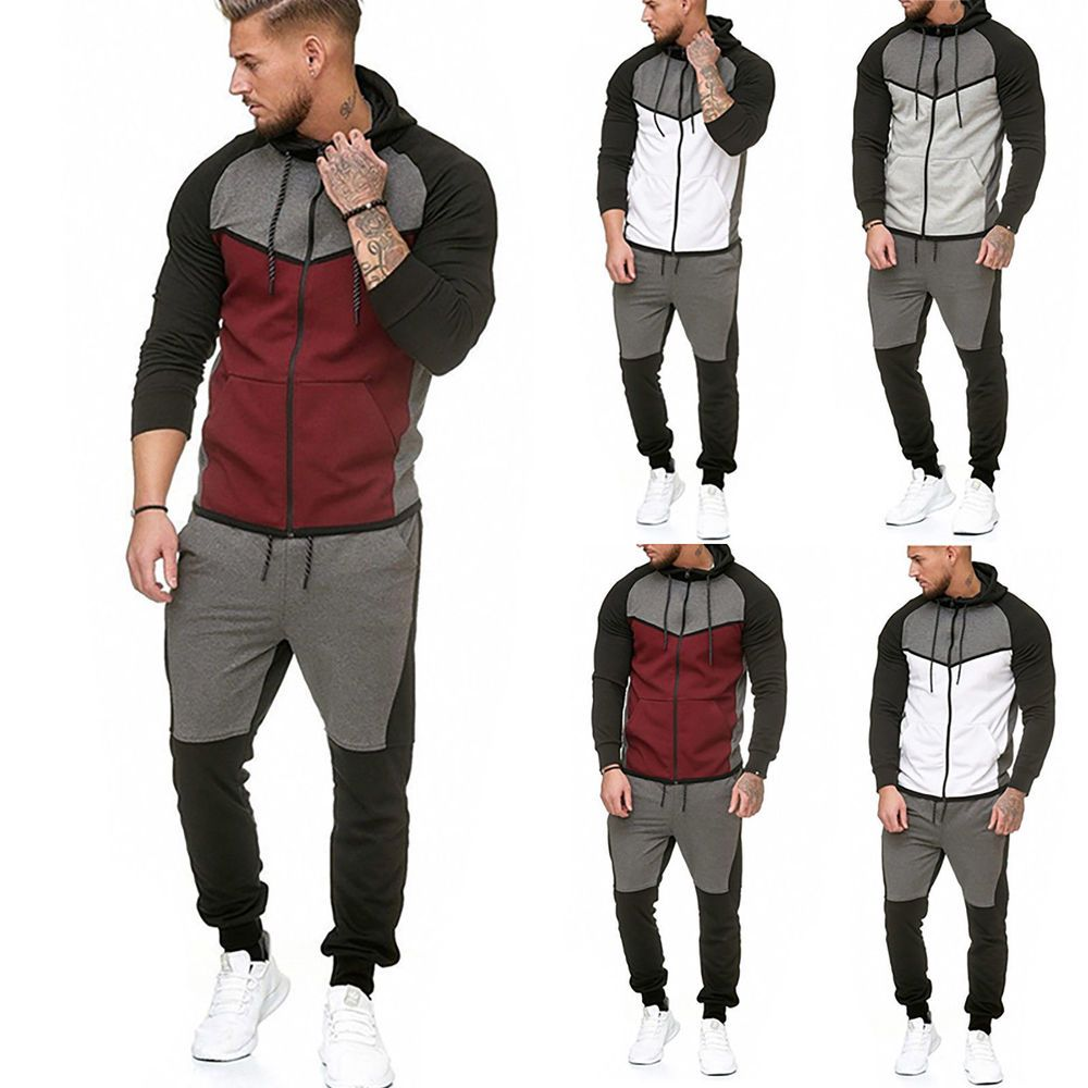 Mens Tracksuit Jogger Military Combat Hoodie Tops Long Pants Sportsuit Outfits