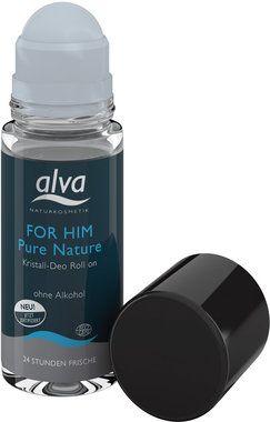 """Alva Déodorant Roll-On Cristal """"Pure Nature"""" FOR HIM, 50 ml   Ecco Verde"""