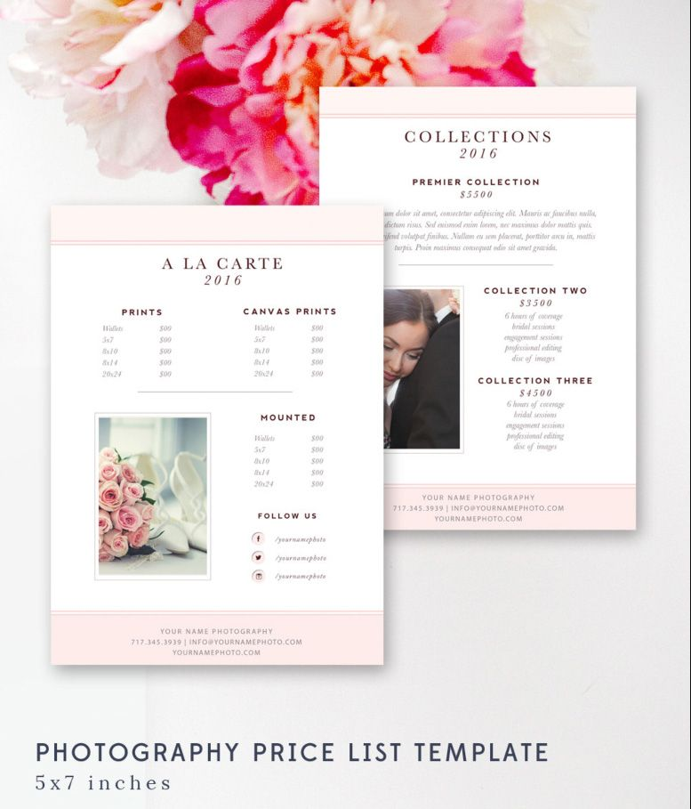 Photography Price List Template - Pricing Sheet Guide - Wedding