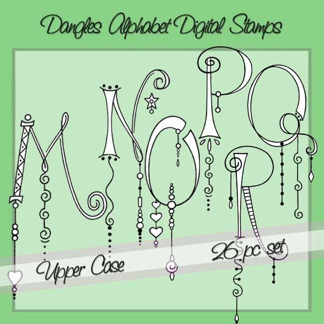 Dangles Alphabet Digital Stamps – Upper Case