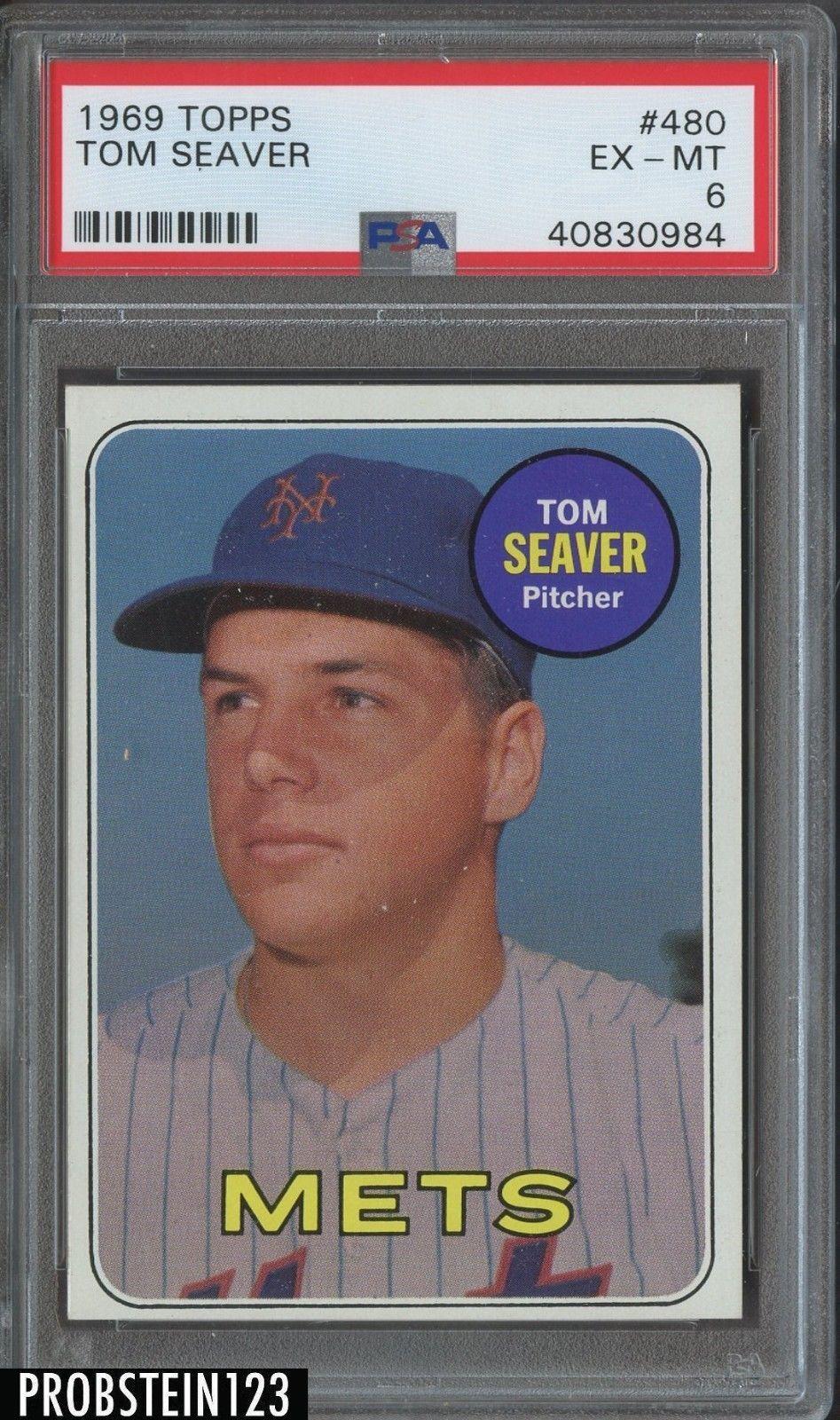 1969 Topps 480 Tom Seaver Hof Mets Psa 6 Ex Mint Baseballcards