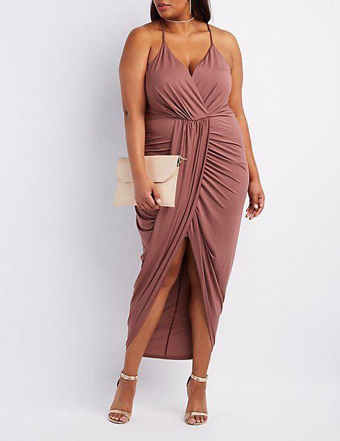 b6bdb024cde Plus Size Surplice Tulip Maxi Dress