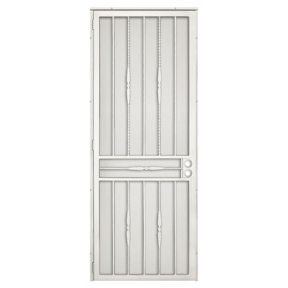 Unique Home Designs 36 In X 96 In Cottage Rose Navajo White Surface Mount Left Hand Steel Security Door With Expanded Metal Screen 5sh600navaj96r Unique House Design Steel Security Doors Metal Screen