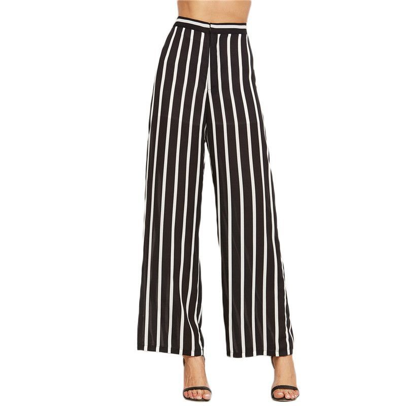 0f8ad696b9 SheIn Loose Trousers Women Trousers Elegant Brand Womens Trousers Black  Vertical Striped High Waist Wide Leg Pants