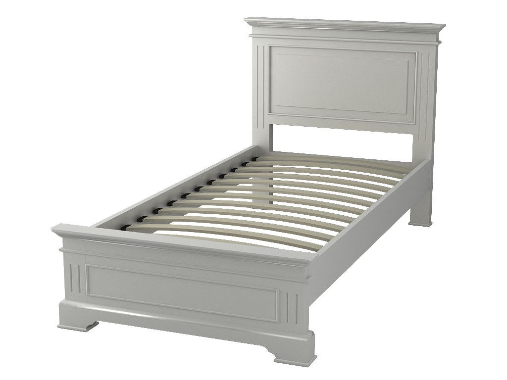 Berkeley Elegance High Quality Antique White Single Low End Bed