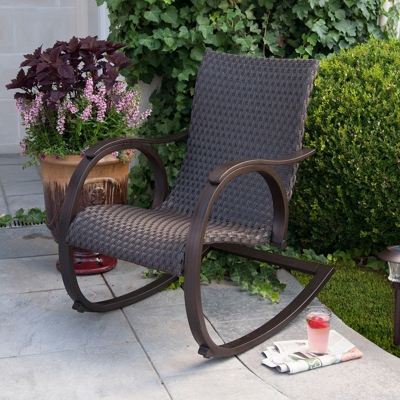 Awesome Modern Sleek Hand Woven Outdoor All Weather Wicker Rocker Rocking Chair  Patio