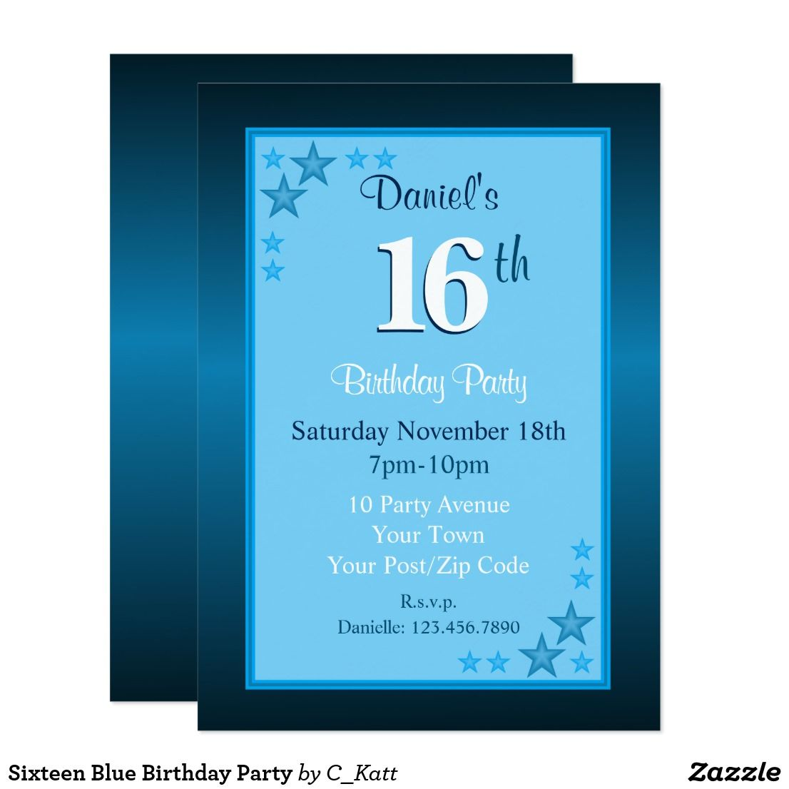 Sixteen Blue Birthday Party Card Sixteenth birthday party invites in blue and white. Stars in the top left and bottom right corners. All details on the front of the invitation are templates with full customization to to add your own details using the text boxes to the right of the design. If you use for a different age be sure to change the number in the number shadow box too.