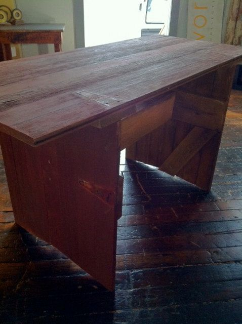 Sustainable Reclaimed Wood Furniture Repurposed Barn Door Desk or small Dining table