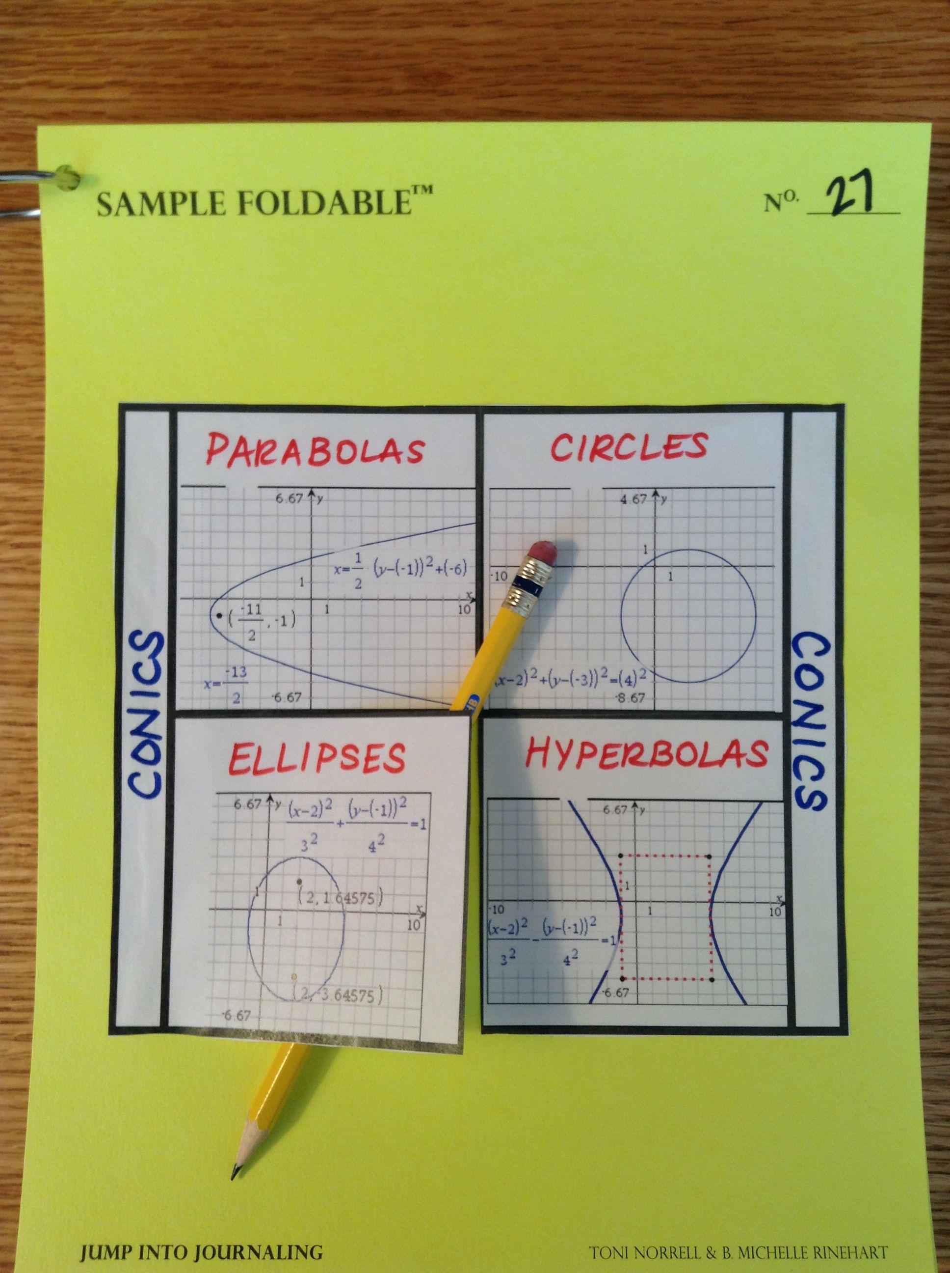 Conics Foldable Parabolas Circles Ellipses Hyperbolas