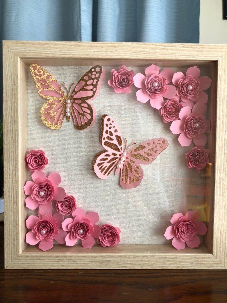 Flowers and butterflies shadow box in 2020 flower