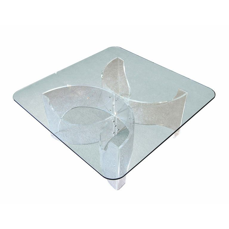 vintage lucite coffee table base | coffee and glass